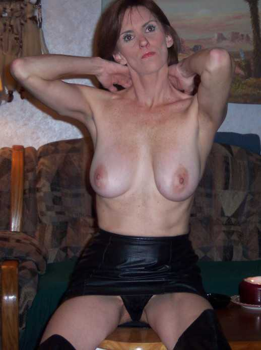 Mature tits leather